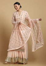 Mukaish Sharara Peach Set
