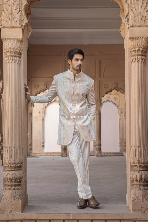 Multicolored Short Sherwani Kurta Menswear