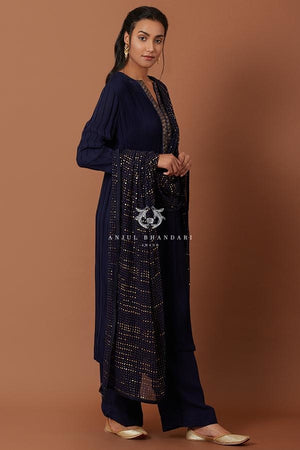 Load image into Gallery viewer, Navy Blue Pleating Straight Suit Set Kurta Set