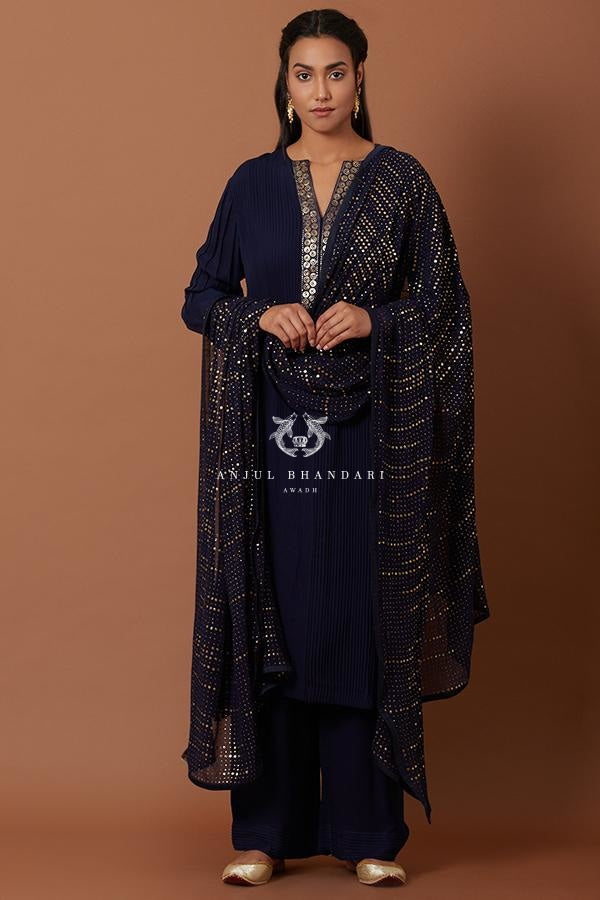 Navy Blue Pleating Straight Suit Set Kurta Set