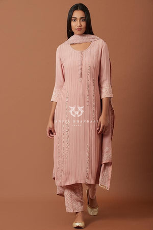 Load image into Gallery viewer, Old Rose Pleating Straight Suit Set Kurta Set