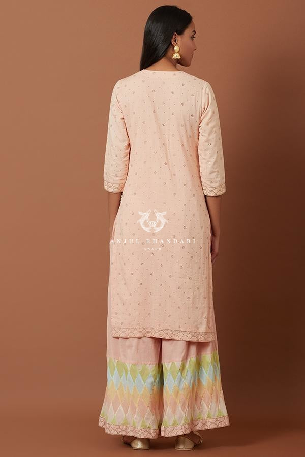 Load image into Gallery viewer, Peach Kurta And Multicolor Tukti Work Sharara Set Set