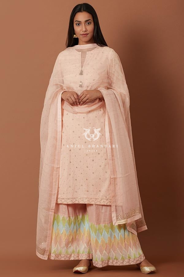Peach Kurta And Multicolor Tukti Work Sharara Set Set