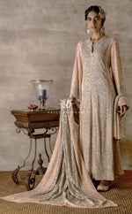 Peshwa Grey Blue & Blush Pink