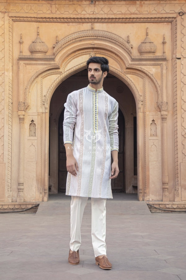Pintex Kurta With Chikankari Borders Menswear