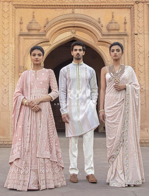 Load image into Gallery viewer, Pintex Kurta With Chikankari Borders Menswear