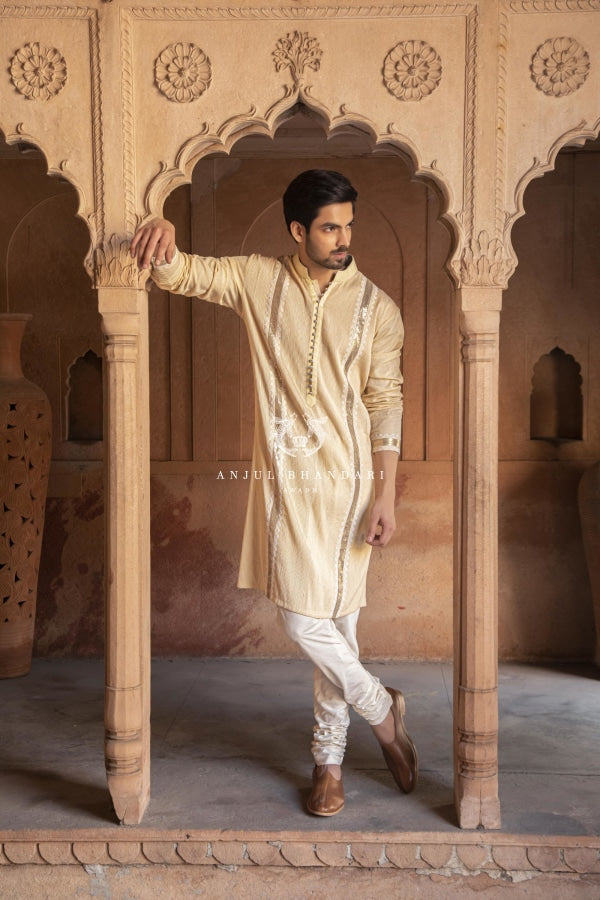 Pintex Kurta With Mukaish Menswear
