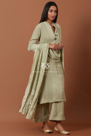 Load image into Gallery viewer, Sage Green Pleating Straight Suit Set Kurta Set