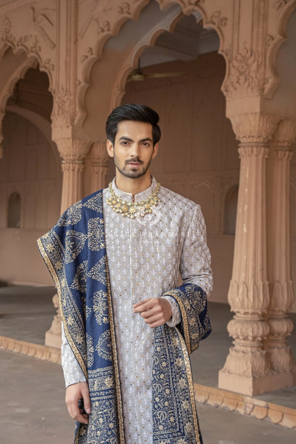 Sherwani Light Chikan And Mukaish Booti Menswear