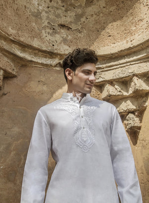 Load image into Gallery viewer, White Aligarhi Kurta Menswear