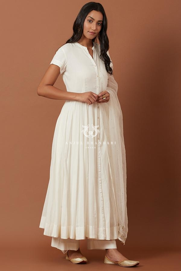 Load image into Gallery viewer, White Anarkali Set