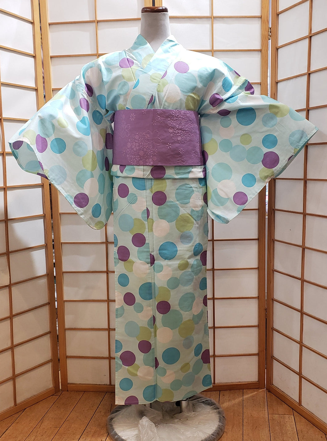 Traditional Yukata - colorful bubbles on pale turquoise
