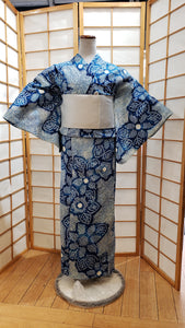 Traditional Yukata - Floral Shibori in Natural Indigo