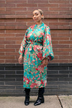 Load image into Gallery viewer, Cotton women's turquoise kimono 42""