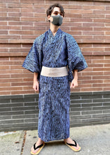 Load image into Gallery viewer, Men's blue with black stripes yukata