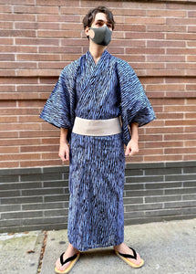Men's blue with black stripes yukata
