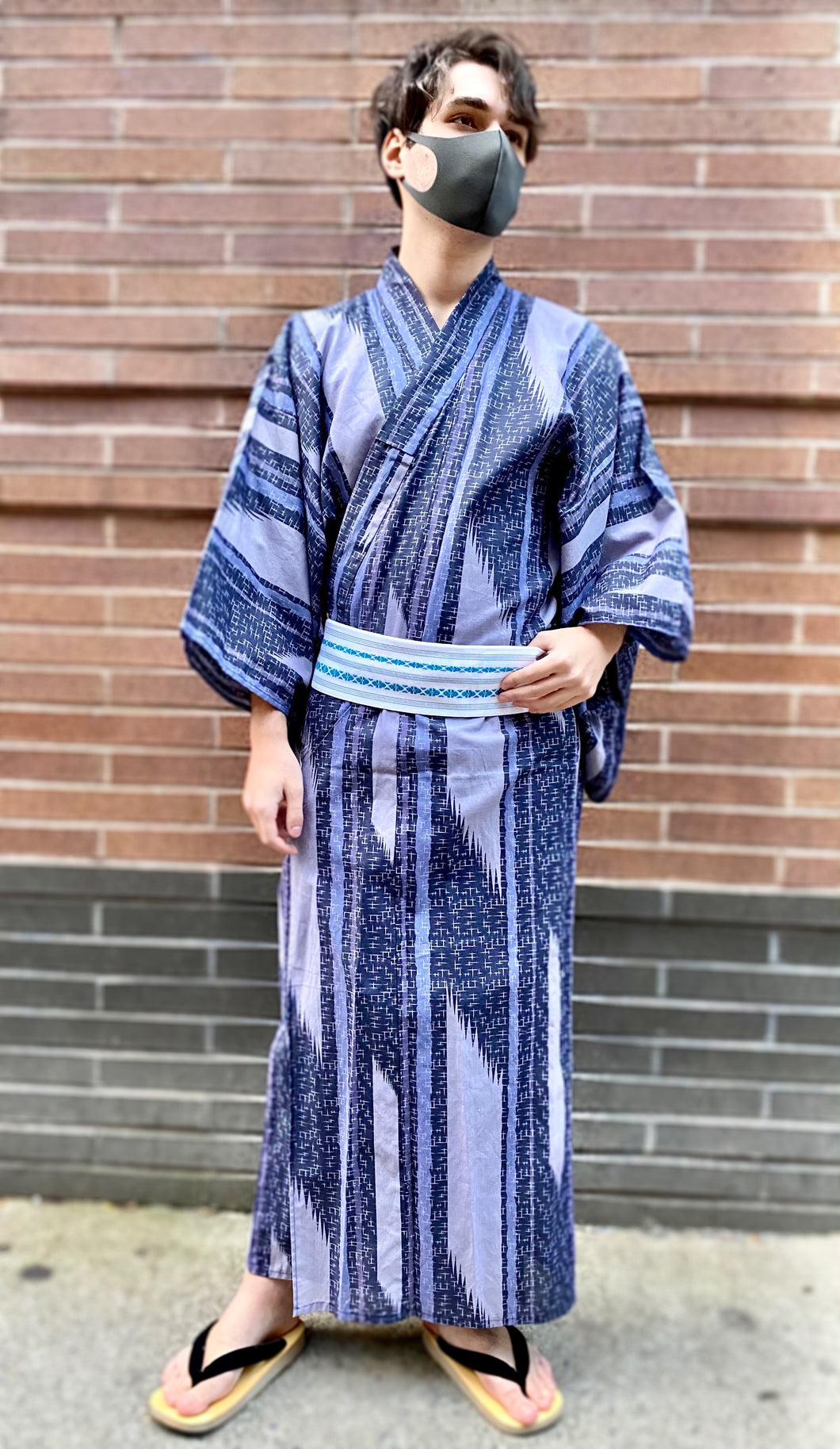 Men's geometric stripes yukata