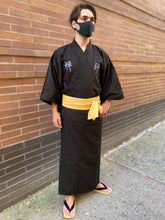 Load image into Gallery viewer, Cotton Black Kimono Robe - Zen Embroidery