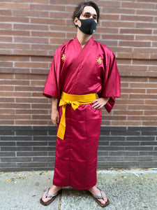 Polyester Robe with Embroidered Good Fortune Character