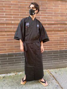 Cotton Black Kimono Robe - Zen Embroidery