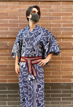 Load image into Gallery viewer, Cotton Kimono - shogi game in indigo
