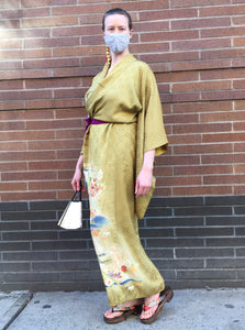 Homongi - formal kimono in ochre with florals