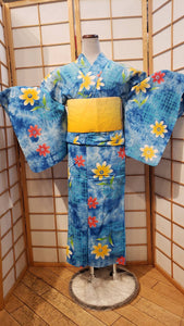 Traditional Yukata - summer flowers on blue sky