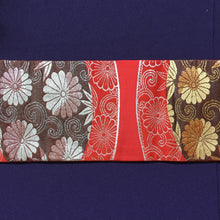 Load image into Gallery viewer, Nagoya Obi - Chrysanthemum and Bamboo red/brown/silver