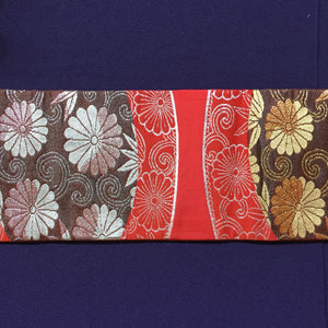 Nagoya Obi - Chrysanthemum and Bamboo red/brown/silver