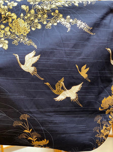 Kimono Robe - gold flowers & cranes on navy