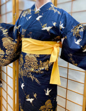 Load image into Gallery viewer, Kimono Robe - gold flowers & cranes on navy