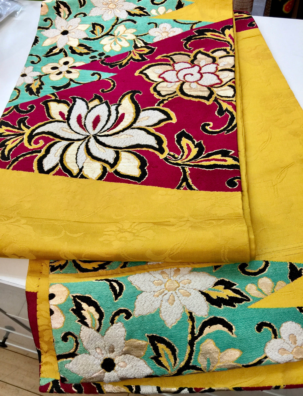 Antique Silk Obi - wine/yellow/ turquoise