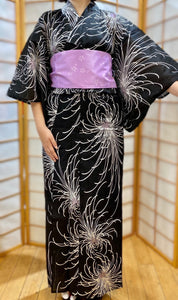 Traditional Yukata - white chrysanthemums on black