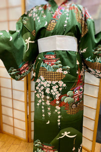Satin cotton gold and green kimono