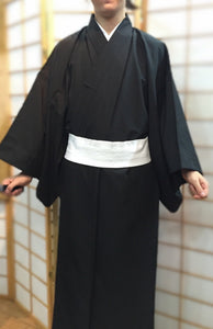 Traditional Formal Men's Black Kimono & Haori Jacket
