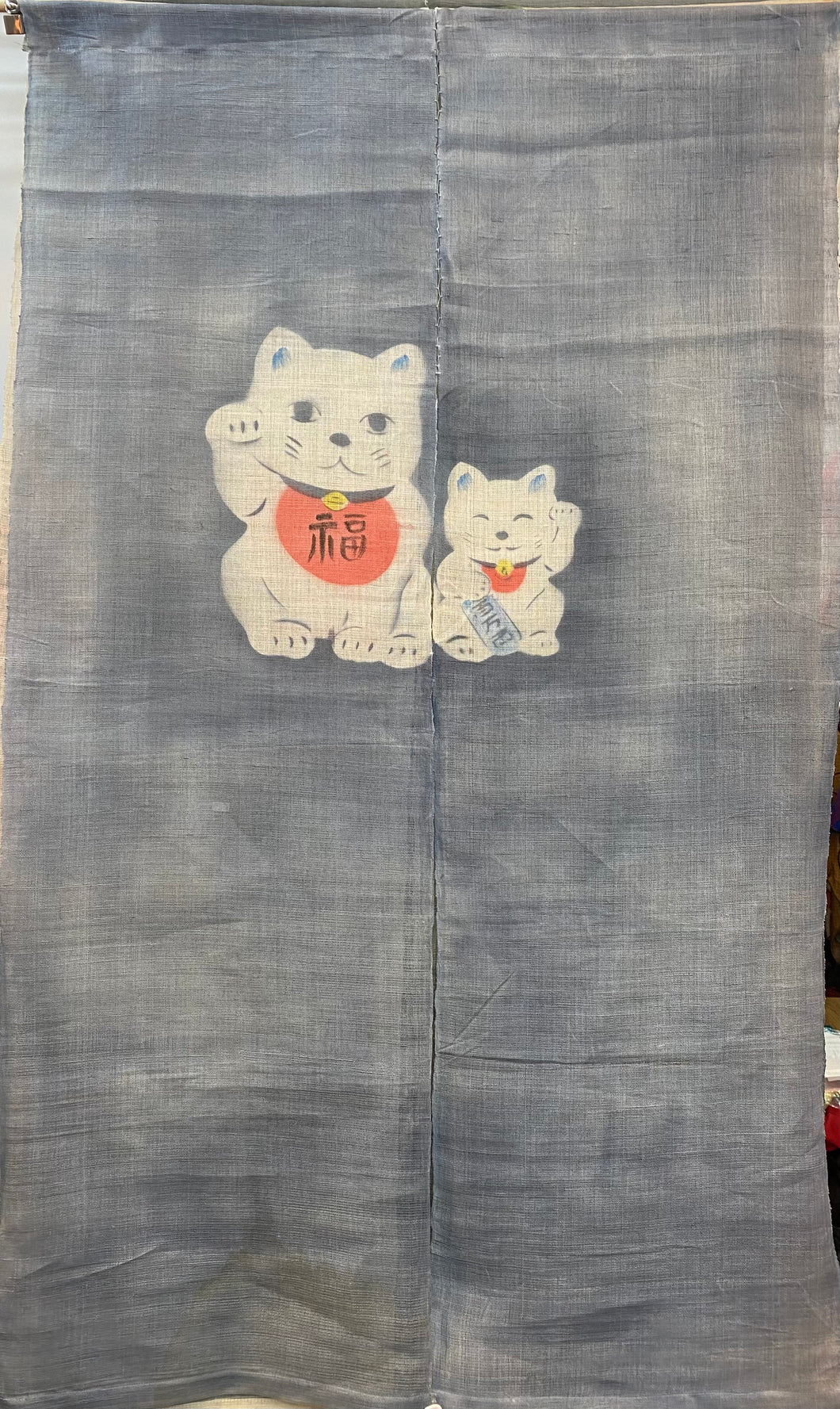 Two Panel Wall Hanging - linen lucky cat