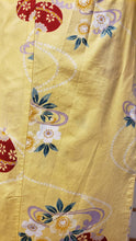 Load image into Gallery viewer, Traditional Yukata - red bells & cherry blossoms on corn yellow