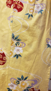Traditional Yukata - red bells & cherry blossoms on corn yellow