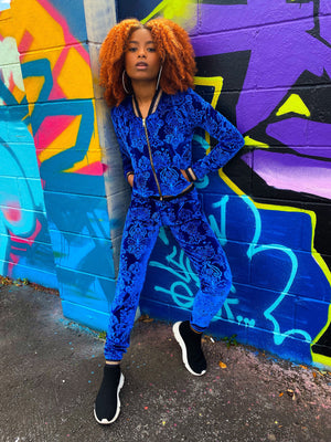 Royalty Velour Tracksuit - Sapphire