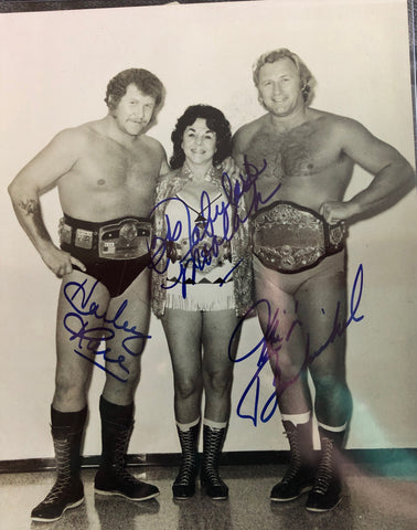 Moolah, Harley Race & Nick Bockwinkle Triple Signed Photo