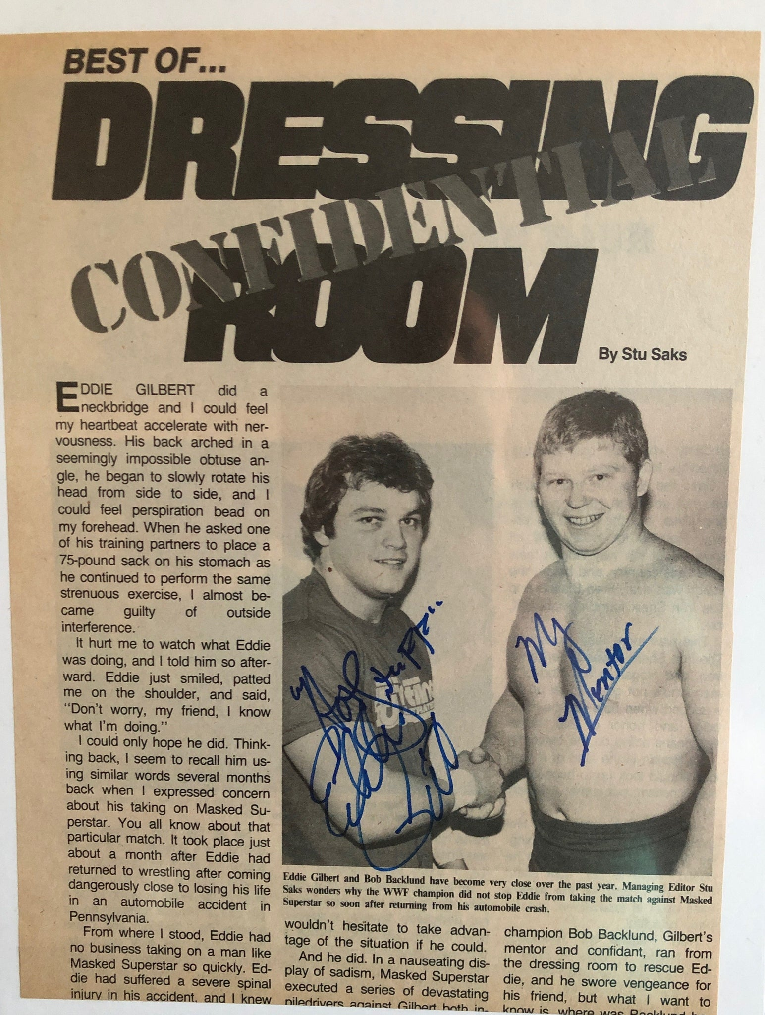 Eddie Gilbert Signed Cut Magazine Article