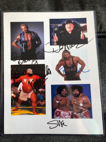 DDP, Dusty Rhodes, Nash, Kamala, Afa & Sika Signed Collage