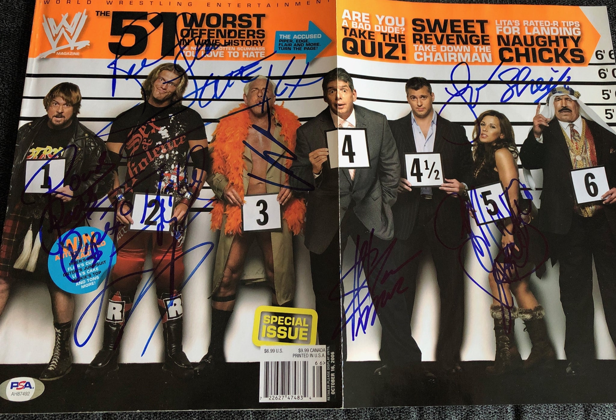 Piper, Edge, Flair, Vince, Shane, Mickie & Sheik Signed Magazine w/PSA