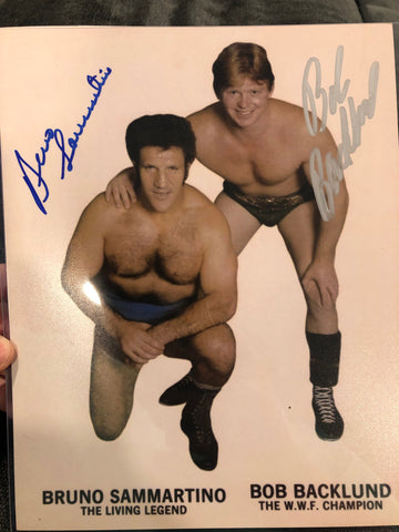 Bruno Sammartino & Bob Backlund Dual Signed Photo