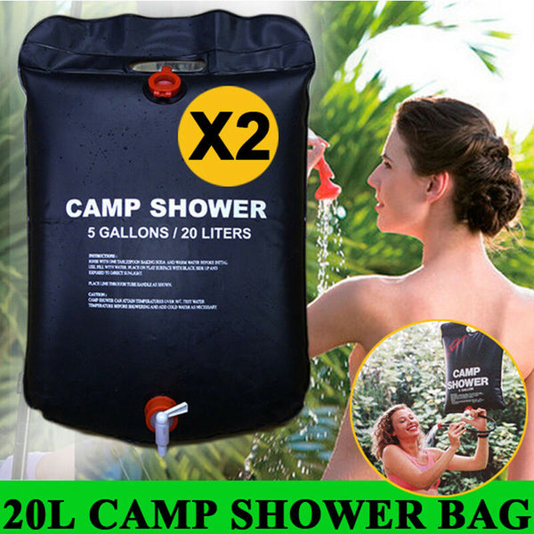 2XPortable 20L Solar Heated Camping Shower Outdoor Camp Hiking PVC Water Bag