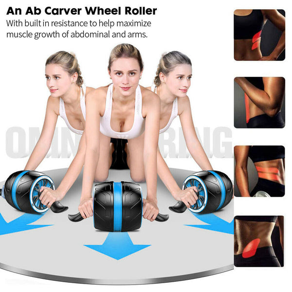 AB Fitness Carver Wheel Roller Abdominal Waist Workout Exercise Gym Knee Mat AU