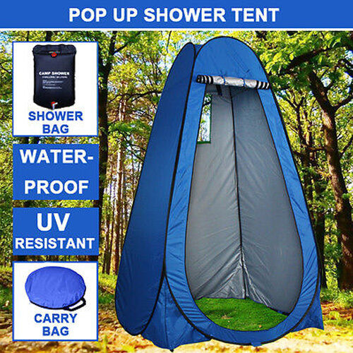 Pop Up Camping Shower Toilet Tent Outdoor Privacy Change Room Shelter+Shower Bag