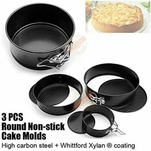 3PCS Springform Bundnt Cake Tin Baking Round Circle Storage Sphere Mould Pan Set