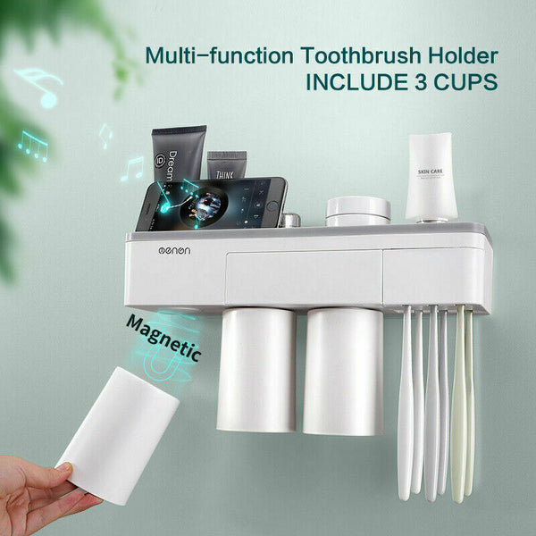 Magnetic Toothbrush Holder Toothpaste Dispenser Bathroom Organizer Storage 3 Cup