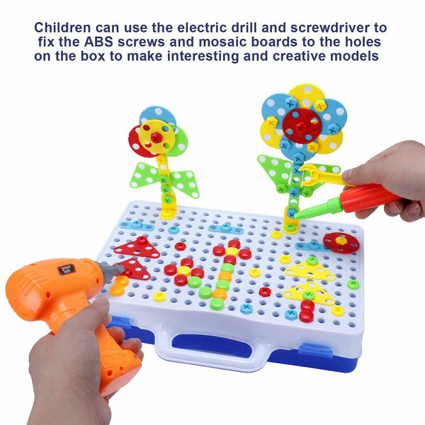 237PC Electric Drill Mosaic Building Block Peg Assemble Toy Set Christmas Gift